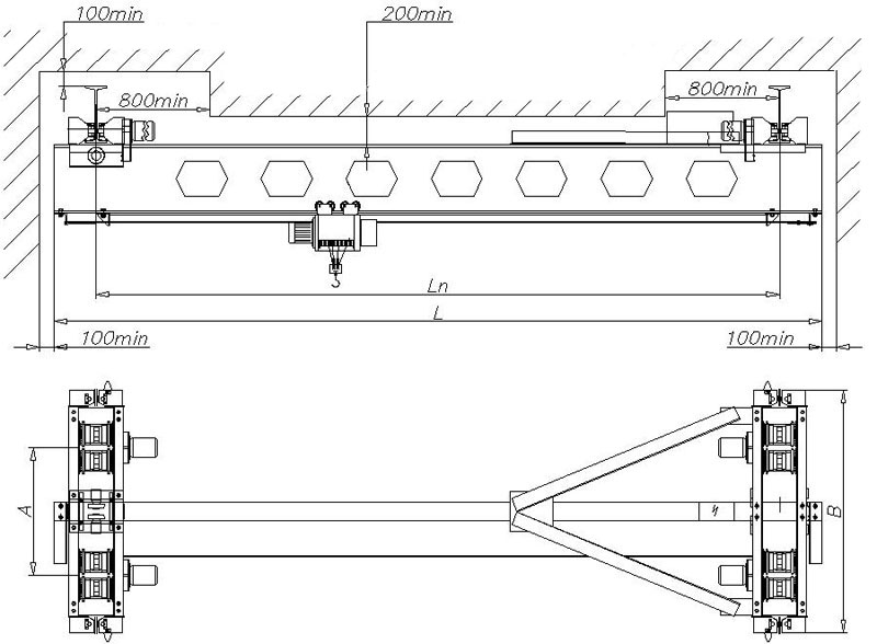 Устройство подкрановых путей под опорную кран балку схема
