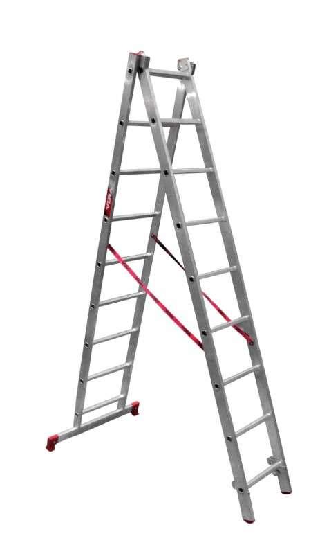 Лестница 2-секционная  2*9 алюминиевая раздвижная