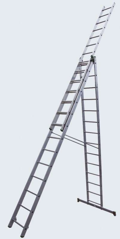 Лестница 3-секционная  3х16 алюминиевая раздвижная
