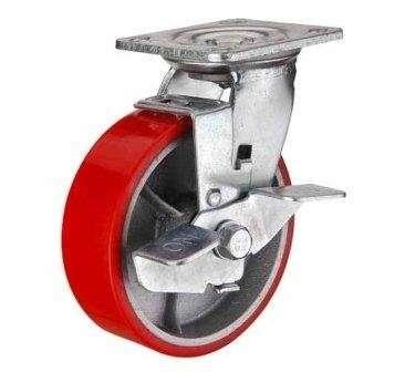 купить колесная опора большегрузная поворотная c тормозом (полиуретан) 100 мм по низким ценам