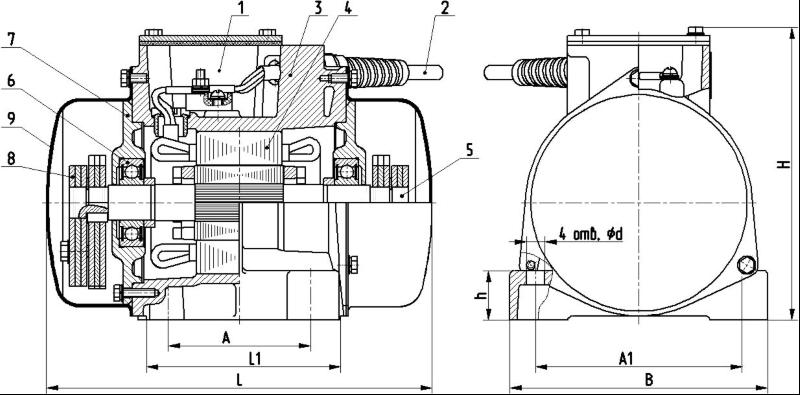 Площадочный вибратор ИВ-127Н чертеж