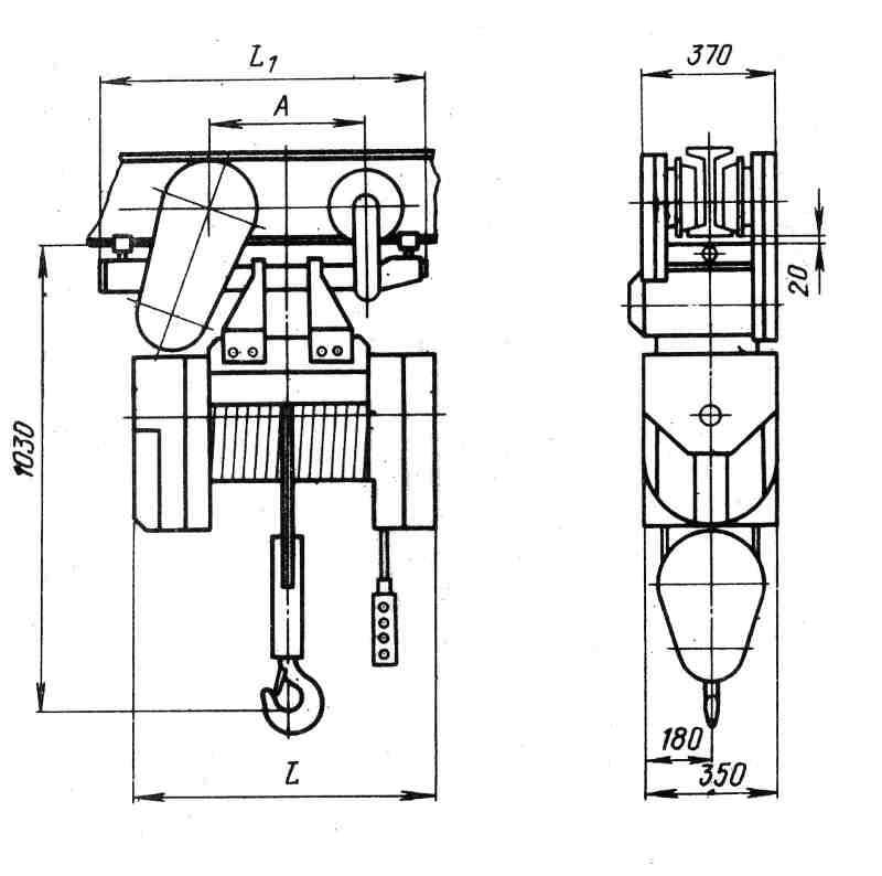 Таль электрическая ТЭ200-561 2 тн  36 м  схема