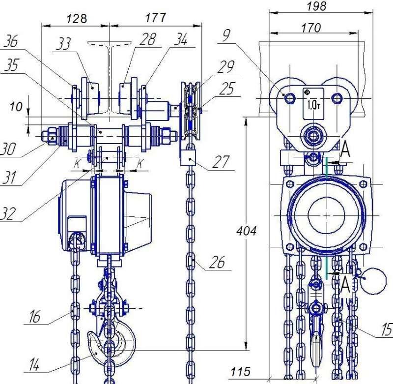 передвижная цепная таль шестеренная 1 тн чертеж