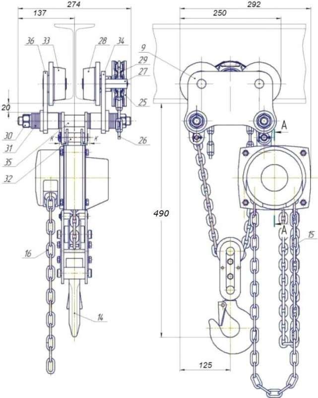 ТРШБк 2 тн подъем 6 м схема