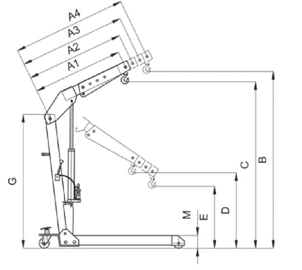 Кран гидравлический HWK KLS 500 кг  чертеж