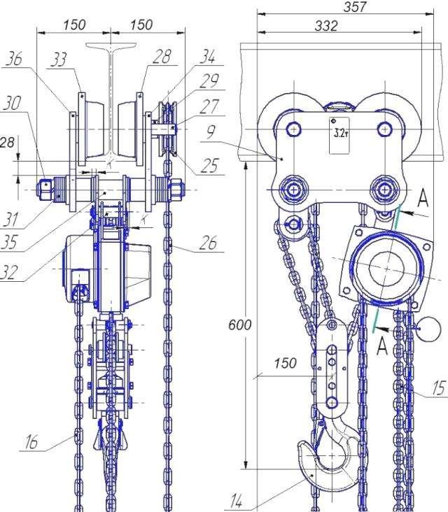 Таль ручная цепная шестеренная передвижная ВБИ схема