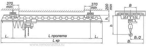 Кран мостовой подвесной 1 тн пролет до 18 м