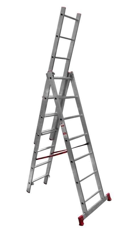 Лестница 3-секционная  3х8 алюминиевая раздвижная