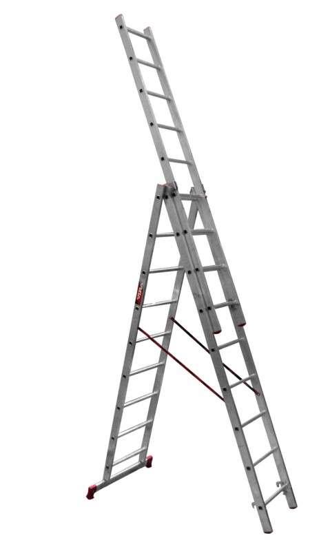 Лестница 3-секционная  3х9 алюминиевая раздвижная
