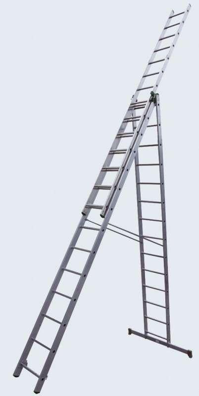 Лестница 3-секционная  3х17 алюминиевая раздвижная