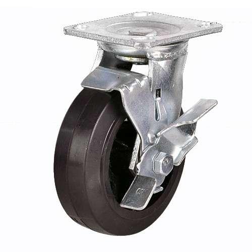купить колесная опора большегрузная обрезиненная поворотная с тормозом 125 мм недорого